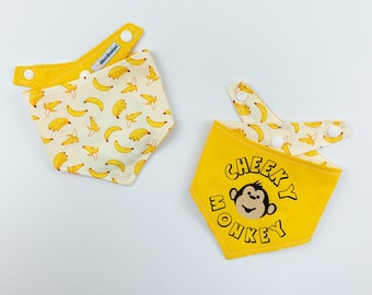 Cheeky Monkey reversible dog bandana in bright yellow and banana print fabric