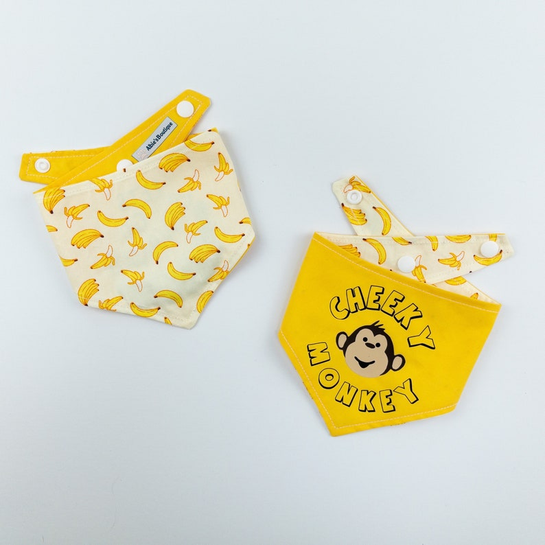 Cheeky Monkey reversible dog bandana in bright yellow and image 0