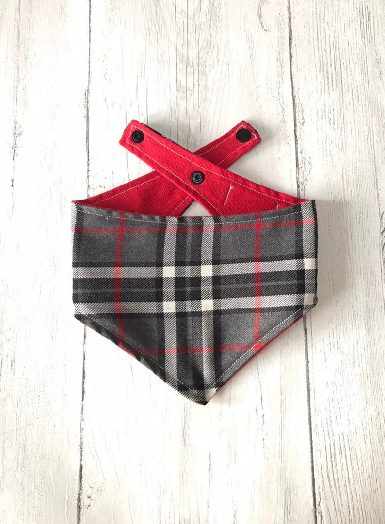 Red Grey and White Tartan Dog Bandana with a popper fastening image 0