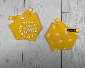 Birthday dog Bandana   Bright Yellow  White Stars   Dog Birthday Gift   Reversible Bandana   Birthday Girl   Birthday Boy
