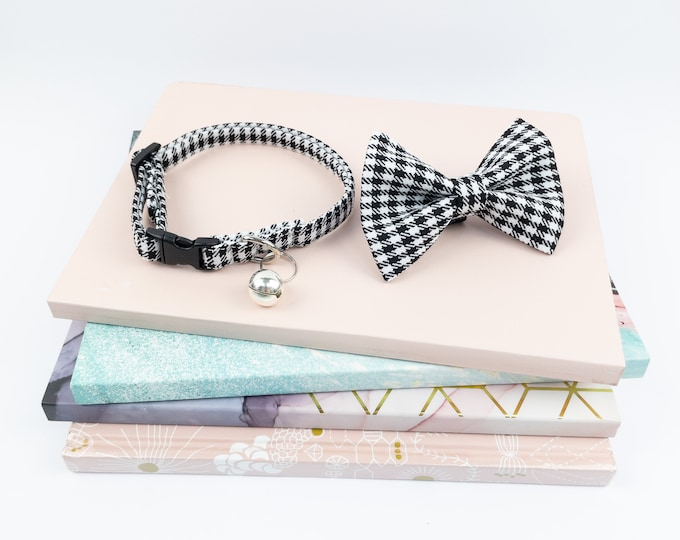 Featured listing image: Houndstooth check cat collar with bow