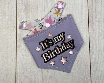 Birthday Dog Bandana in a pastel purple and multicoloured Stars fabric