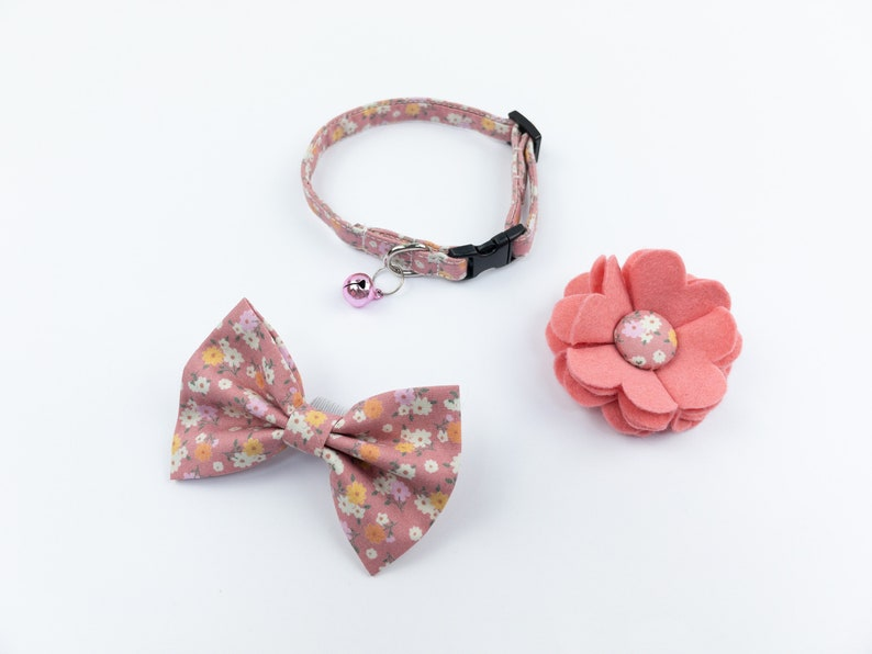 Pink floral handmade cat collar bow and flower Collar Flower & Bow