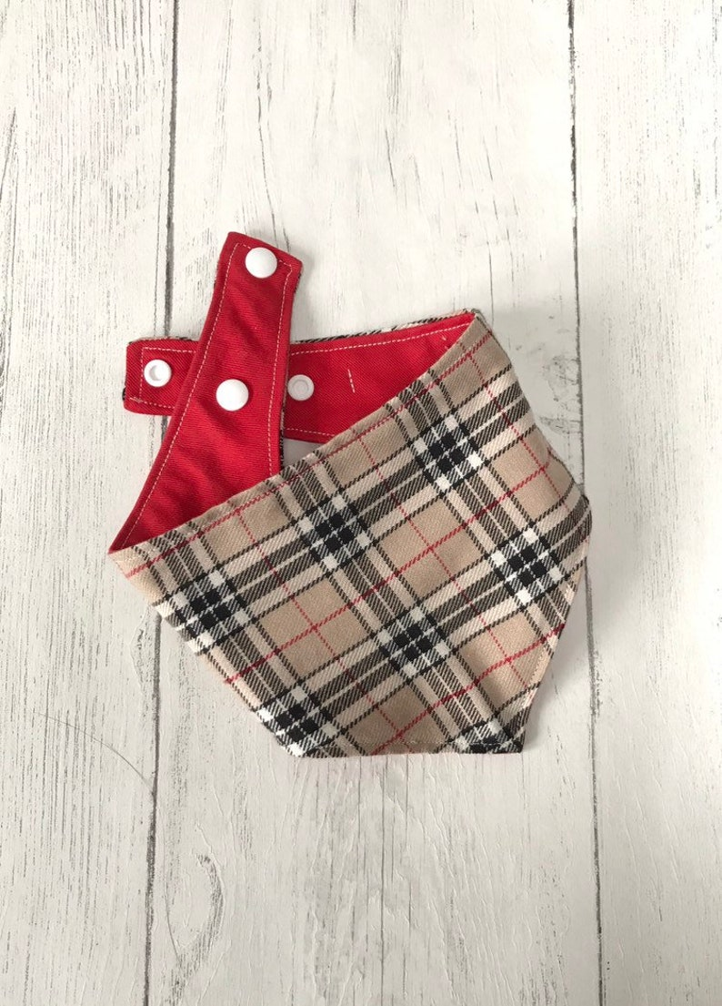 Beige and Red Tartan Dog Bandana with a popper fastening image 0
