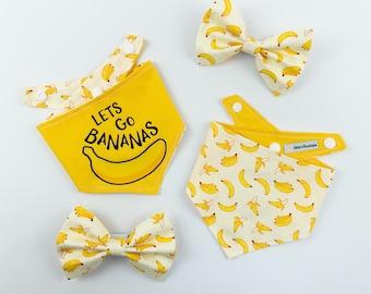 Let's go bananas reversible dog bandana in bright yellow and banana print fabric
