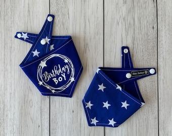 Birthday dog Bandana   Royal Blue   White Stars   Dog Birthday Gift   Reversible Bandana   Birthday Boy