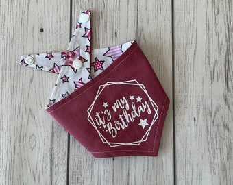 It's my Birthday vinyl print double sided dog Bandana in blush pink with a striking pink stars fabric.