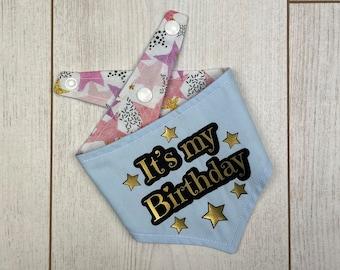 Birthday Dog Bandana in a pastel blue and multicoloured Stars fabric