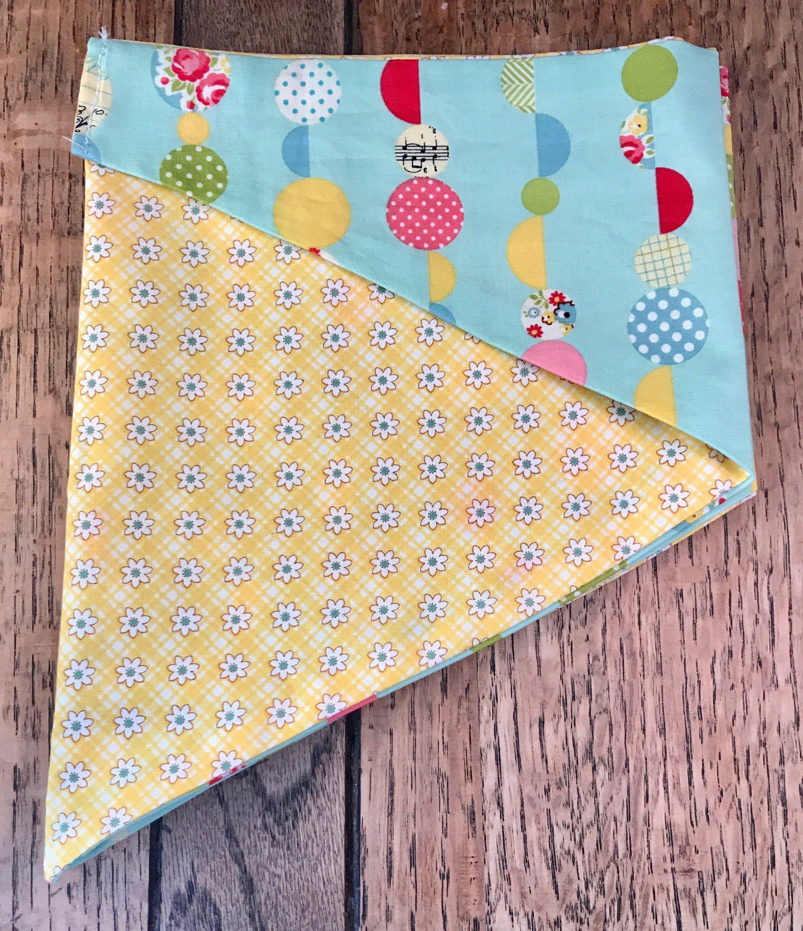 Double Sided Dog Tie Bandana in Duck Egg Green and Yellow Daisy