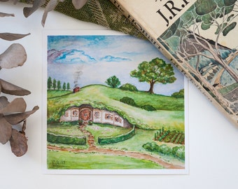 Hobbit Hole Painting, Watercolor Art Print, Middle-earth Art, The Shire, The Lord of the Rings, J.R.R. Tolkien, Fantasy Art