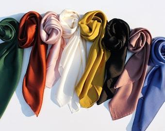 Satin Hair Scarf/Silky Square Neck Scarf/Bag Scarf/Bohemian Head Scarf/Turban Scarf/Head Wrap/Solid Color Bandanna