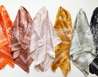 FINAL SALE//16 Colors Paisley Square Scarves Silk Blend Head Neck Scarf Neckerchief/Bag Scarf/Head Scarf/Turban Scarf/Head Wrap/Bandanna