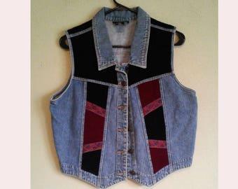 Patchwork denim 90's Vest Large velvet patches