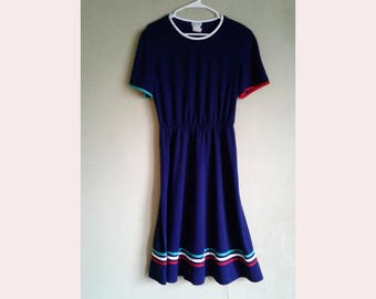 90's Navy blue Striped Sundress size 12