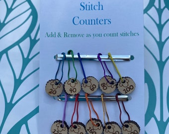 Stitch Marker Counters,Knitting Row Marker, Stitch Marker for Knitting, Sheep stitch markers, count by 20 markers