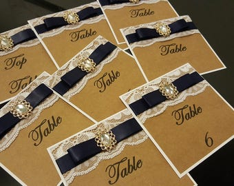 Vintage style lace table numbers