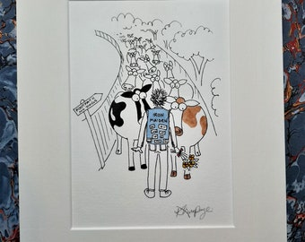 Cow cartoon - 'Alley Cows' hand finished print from the book 'Common or Garden Cows'
