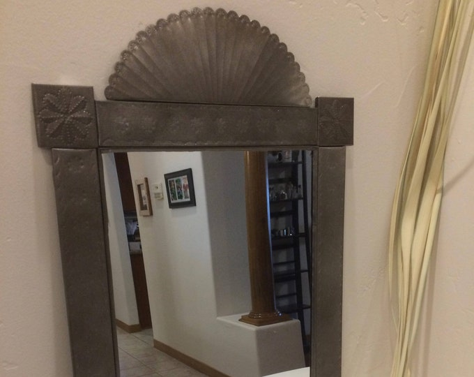 Spanish Colonial Style Punched Tin Mirror, Antiqued, Handmade