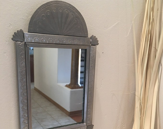Small Punched Tin Mirror in Spanish Colonial Style, Handmade