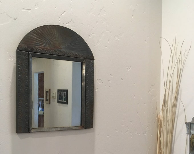Spanish Colonial Style Punched Tin Mirror, Handmade, Antiqued Tin and Antiqued Mirror