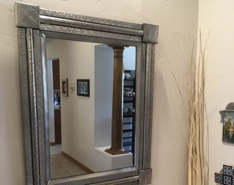 """Large Spanish Colonial Style Punched Tin Mirror, """"Federal Classic"""", Handmade"""