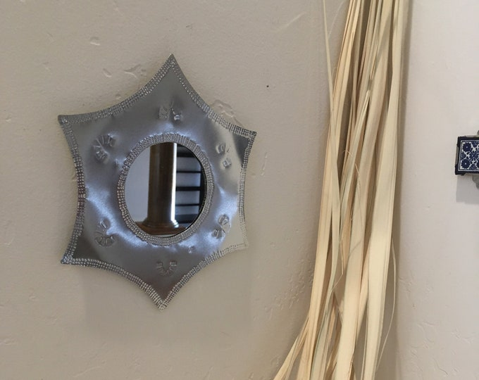 Spanish Colonial Style Punched Tin Mirror, Handmade