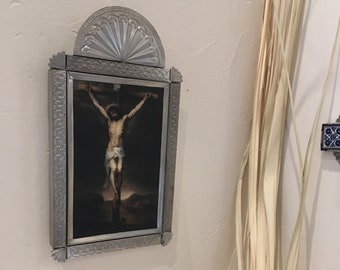 "Punched Tin Retablo of Wood Mounted Print, ""The Crucifixion"", Handmade"