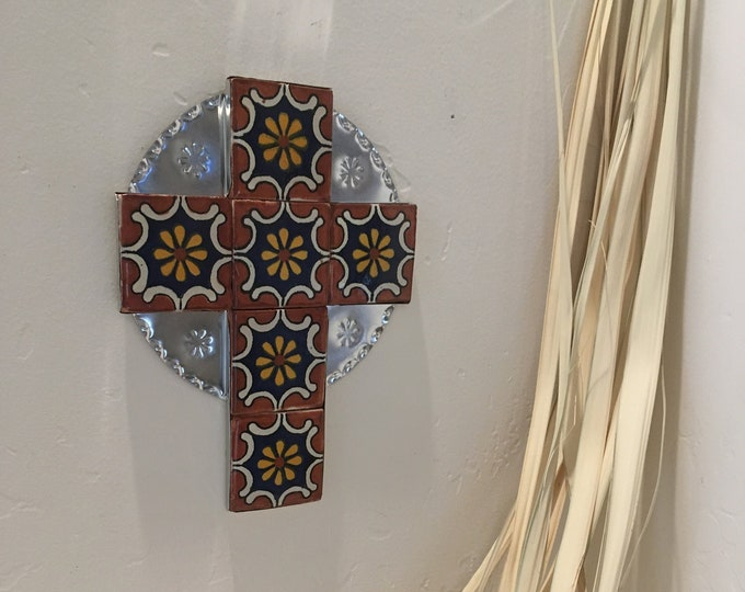 Large Spanish Colonial Style Punched Tin Cross with Talavera Tile, Handmade