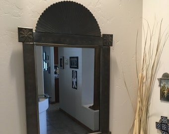 Large Spanish Colonial Style Punched Tin Mirror, Antiqued, Handmade