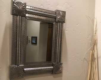 """Spanish Colonial Style Punched Tin Mirror, """"Federal Classic"""", Handmade"""