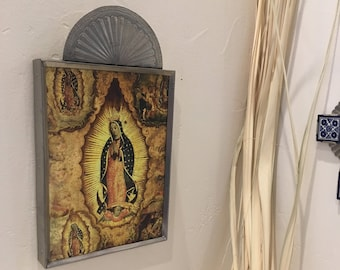 Punched Tin Retablo of Print of Our Lady of Guadalupe, Handmade