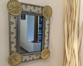 Small Spanish Colonial Style Punched Tin Mirror with Patterned Border, Handmade
