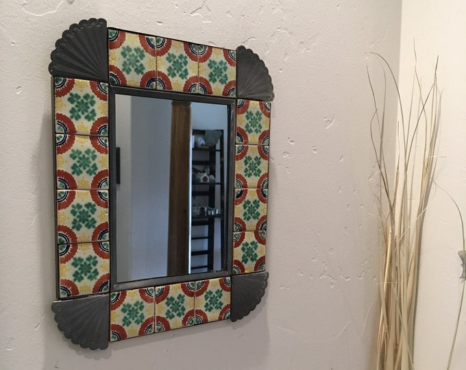 Large Spanish Colonial Style Punched Tin Mirror, Talavera Tile Border, Handmade