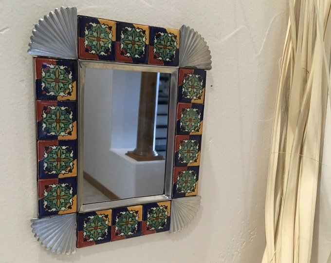 Small Spanish Colonial Style Punched Tin Mirror with Talavera Tile Border, Handmade