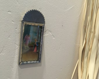 Spanish Colonial Style Punched Tin Frame with Holy Card Print, Antiqued, Handmade