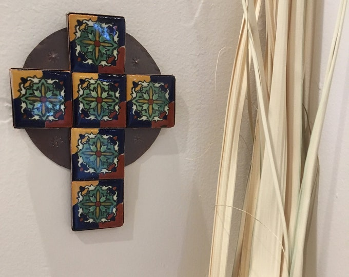 Small Spanish Colonial Style Punched Copper Cross with Talavera Tile, Handmade