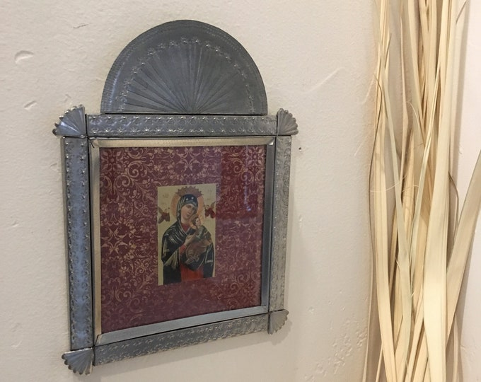 Punched Tin Framed Retablo of Our Lady of Perpetual Help, Handmade