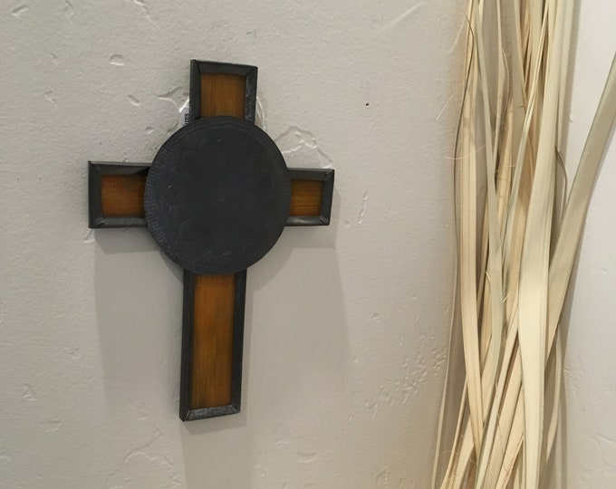 Small Spanish Colonial Style Punched Tin Cross with Reverse Painted Glass, Handmade