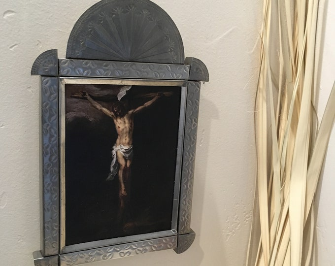 """Punched Tin Retablo of Wood Mounted Print, """"The Crucifixion"""", Handmade"""