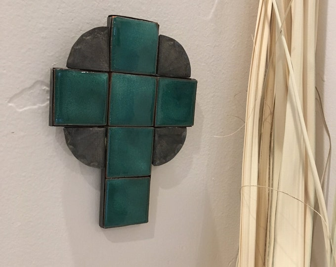 Small Spanish Colonial Style Punched Tin Cross with Colorful Tile, Handmade