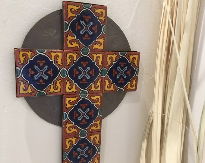Large Spanish Colonial Style Punched Copper Cross with Talavera Tile, Handmade
