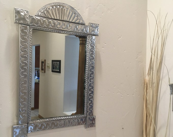Large Punched Tin Mirror in Spanish Colonial Style, Handmade