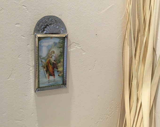 Spanish Colonial Style Punched Tin Frame with Holy Card Print, Handmade