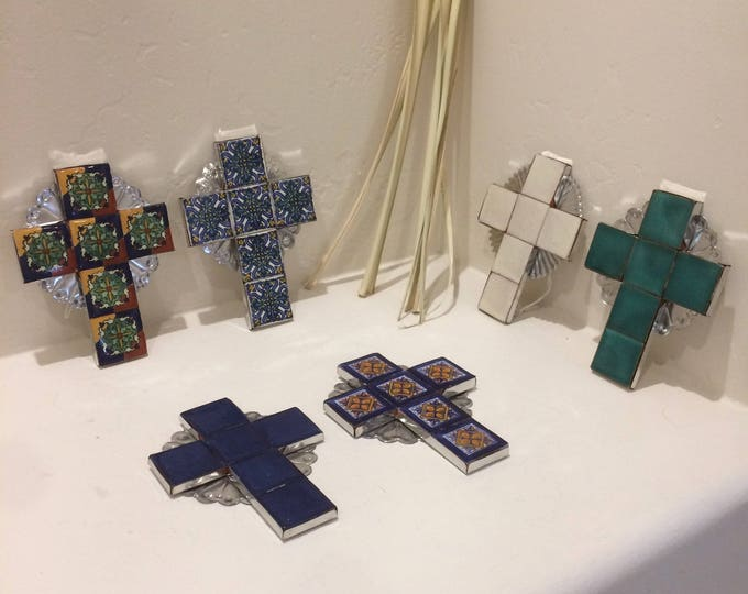 Small Spanish Colonial Style Punched Tin Cross with Talavera Tile, Handmade