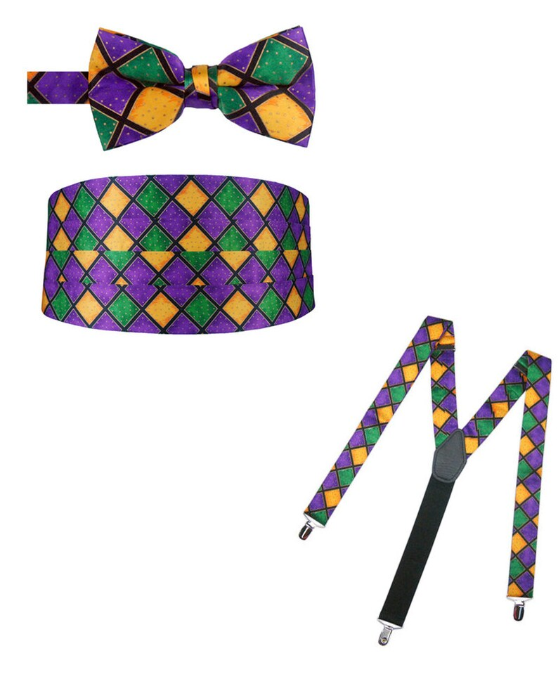 Mardi Gras Bow Tie Cummerbund and Suspender Package image 0