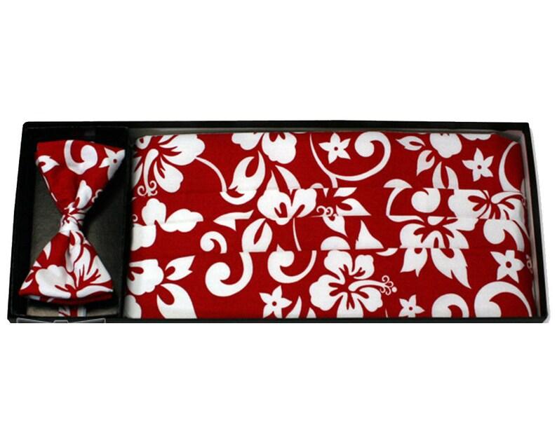 Assorted Color Pareaus Floral Pleated Cummerbund /& Bow Tie Sets