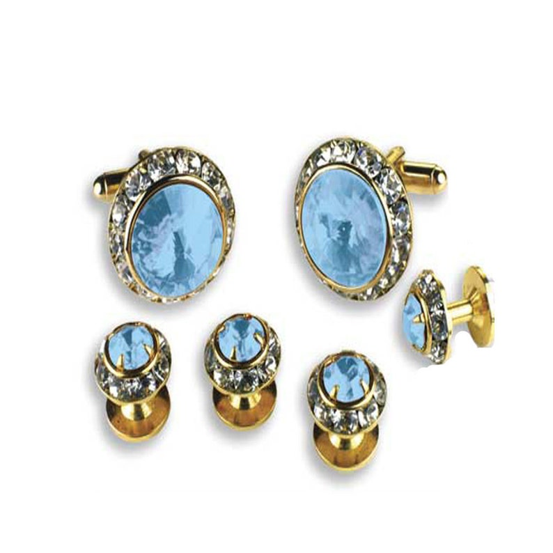 Assorted Color Austrian Crystal Tuxedo Studs and Cuff Links in Gold or Silver Trim