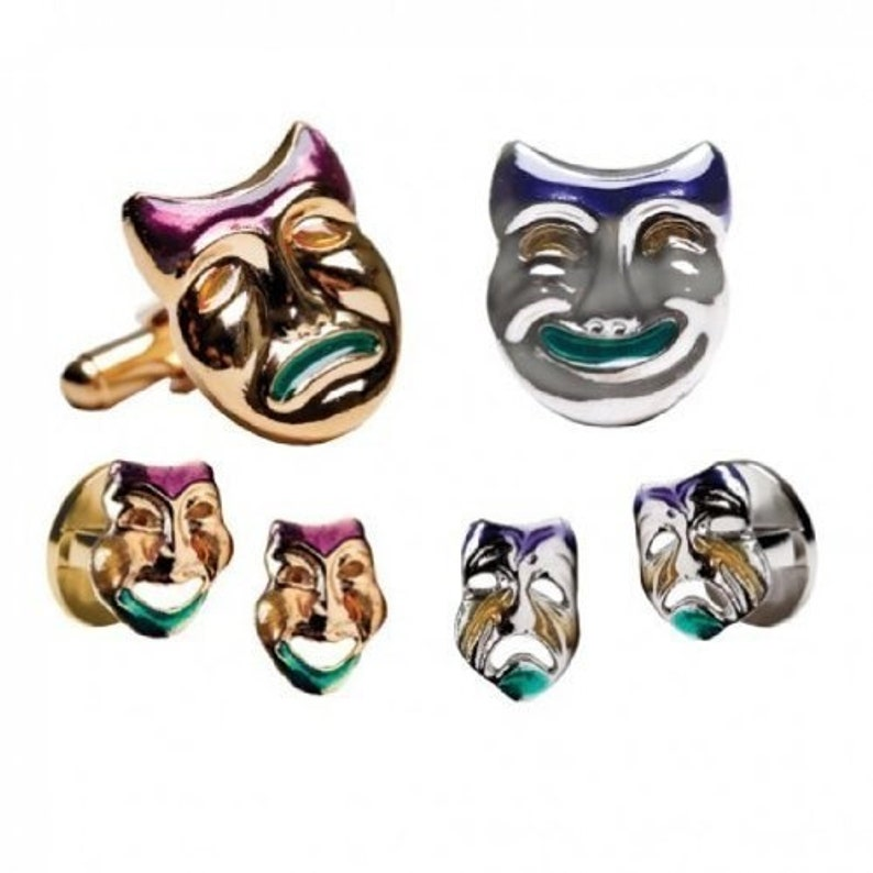 Mardi Gras Colored Comedy and Tragedy Gold Trim Tuxedo Studs and Cufflinks