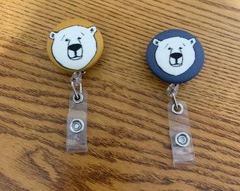 Retractable ID Badge Veterinarian Lanyard Badge Reel Stethoscope ID Littmann Stethoscope Tag Brown Bear Badge Reel Staff ID Nurse