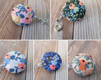 Floral Badge Reel for Nurse Retractable ID Badge Heavy Duty Badge Reel Teacher Badge Reel - ID Badge Holder -Rifle paper co